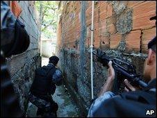 Police patrol in Morro do Adeus slum in Rio de Janeiro, Brazil,