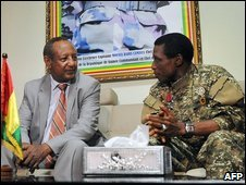 Junta leader Moussa Dadis Camara talks with UN Assistant Secretary General Haile Menkerios in Conakry, October 18 2009