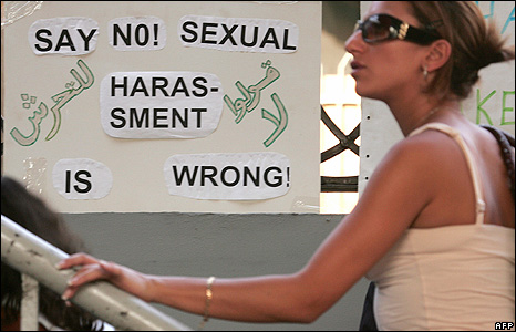 An Egyptian woman visits the Making The Streets Safe For Everyone anti-sexual harassment fair in Cairo (May 20070