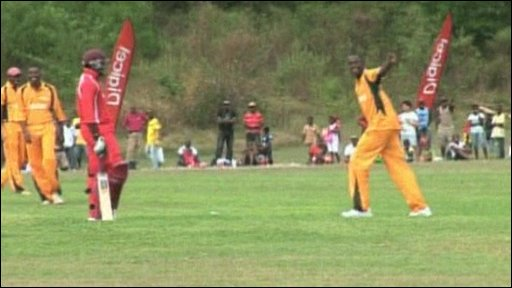 Usain Bolt shows Chris Gayle the way to the pavillion