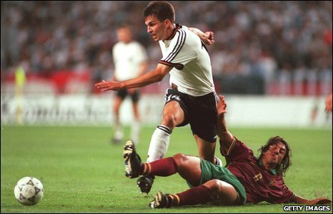 Paulo Sousa tackles Germany's Markus Babbel during a 1-1 World Cup qualifying draw in 1997