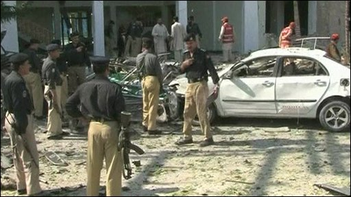 Police at the blast scene