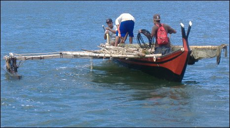 Traditional Yapese outrigger canoe