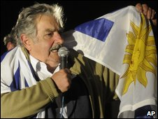 Uruguayan presidential candidate Jose Mujica in Montevideo on 25 October 2009
