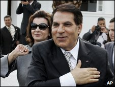 Tunisian President Zine El Abidine Ben Ali and his wife