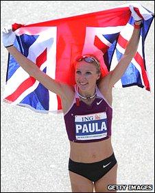 Radcliffe celebrates after winning the 2008 New York Marathon