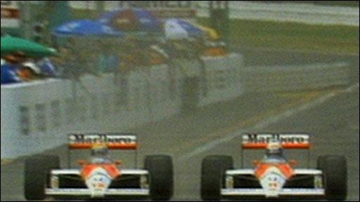 Ayrton Senna overtakes Alain Prost