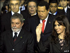 Regional leaders at a Mercosur summit in July 2008