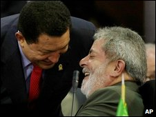 Hugo Chavez and Lula at a summit on Margarita island, 27 September 2009