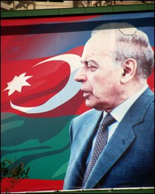 Flag showing picture of Heydar Aliyev