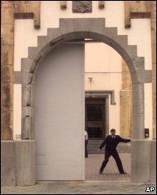 A warden closes the gate to Arlon prison in Belgium