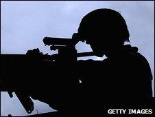 British soldier and machine gun