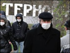 people in Ukraine wearing face masks