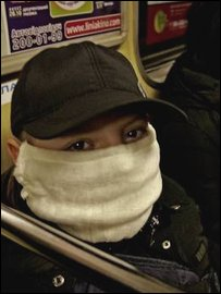 Ukrainians wearing masks on the metro