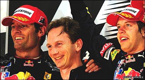 Mark Webber, Christian Horner and Sebastian Vettel
