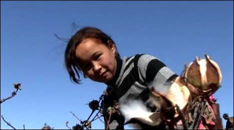 girl picking cotton in Uzbekistan