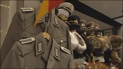 East German military uniforms in a souvenir shop