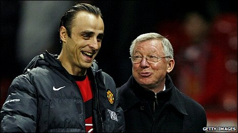 Dimitar Berbatov (left) with Sir Alex Ferguson