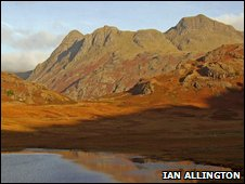 Early morning Langdales over Blea Tarn