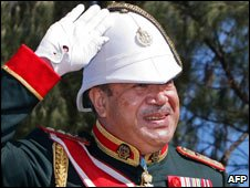 Tonga King George Tupou V on his coronation, 2 Aug 2008