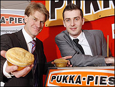 Pukka Pies managing director Tim Storer with Leicester pro Mark Selby
