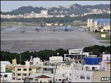 A view of the US Marine Corps Futenma Air Base in Ginowan, Okinawa Prefecture, on 8 November 2009
