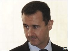 Bashar Assad at the Syrian presidential palace in Damascus, Syria, on 12 November 2009