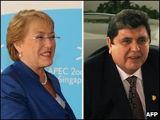 Michelle Bachelet and Alan Garcia at the Apec summit