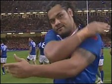 Samoa captain George Stowers shows his passion in the Siva Tau
