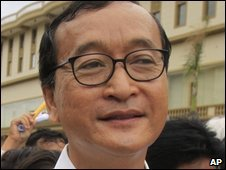 Cambodia opposition leader Sam Rainsy in Phnom Penh, Cambodia - 4 August 2009