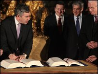 Gordon Brown signing the Lisbon treaty
