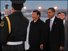 Barack Obama (R) with Chinese Vice President Xi Jinping at Beijing airport - 16 November 2009