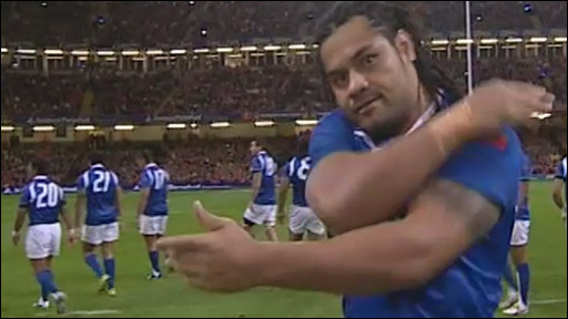 Samoa's George Stowers performs the fearsome Siva Tau war dance before facing Wales at the Millennium Stadium in 2009