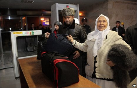 Passengers at Grozny airport, 16 November