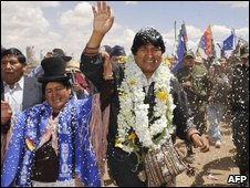 Evo Morales, celebrates his 50th birthday in the Aymara community of Batallas