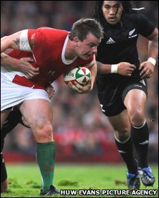 Matthew Rees in action against the All Blacks