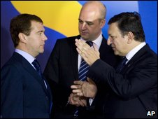 Russian President Dmitry Medvedev, left, Sweden's Prime Minister Fredrik Reinfeldt and EU Commission President Jose Manuel Barroso, right