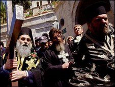 Greek Orthdox Christians make the Way of the Cross in Jerusalem