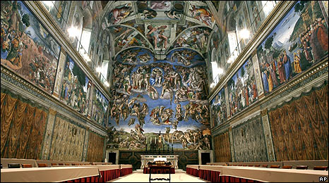 File photo of the Vatican's Sistine Chapel from April 2005