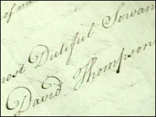 David Thompson's signature on the letter asking for a sextant