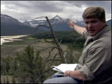 Ray Mears pointing the way to Howse Pass