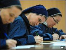 Romanian nuns voting