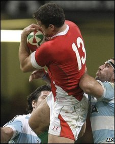 Wales centre Jamie Roberts takes a high ball against Argentina