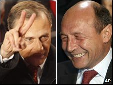 Composite image of Mircea Geoana, left, and Traian Basescu