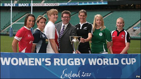 Non Evans (far left) at the Women's Rugby World Cup launch in Twickenham