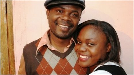 Zambian singer Saboi Imboela (R) with her actor husband Owas Ray Mwape