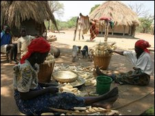 Zambian women working in a village