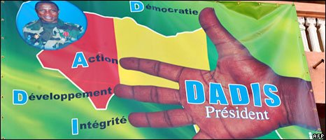 A banner promoting junta leader Moussa Dadis Camara for president photographed in Conakry on 18 October 18, 2009