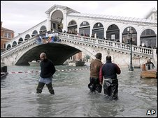 High water at the Rialto bridge, Venice
