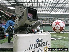 Mediaset TV camera at football stadium